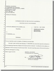 Notice of Taking Deposition to Riverside County Sheriff